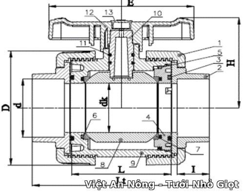 Van cầu rắc co hai đầu ren phi 49mm - Automat Việt An Nông 2