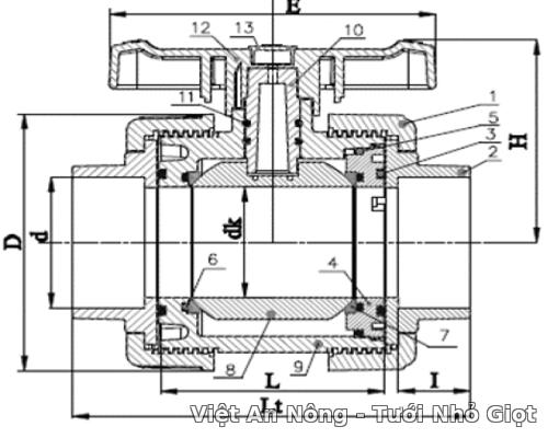 Van cầu rắc co hai đầu ren phi 34mm - Automat_van