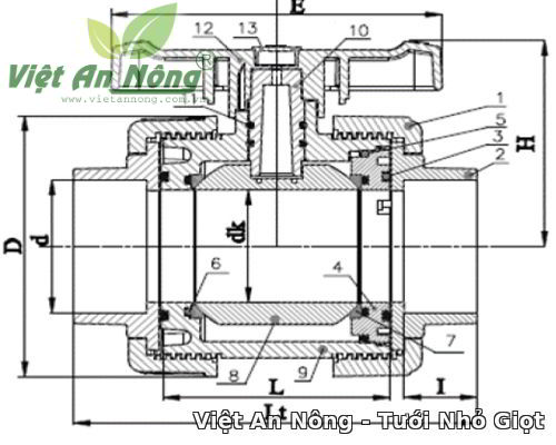 Van cầu rắc co hai đầu ren phi 90mm - Automat 5